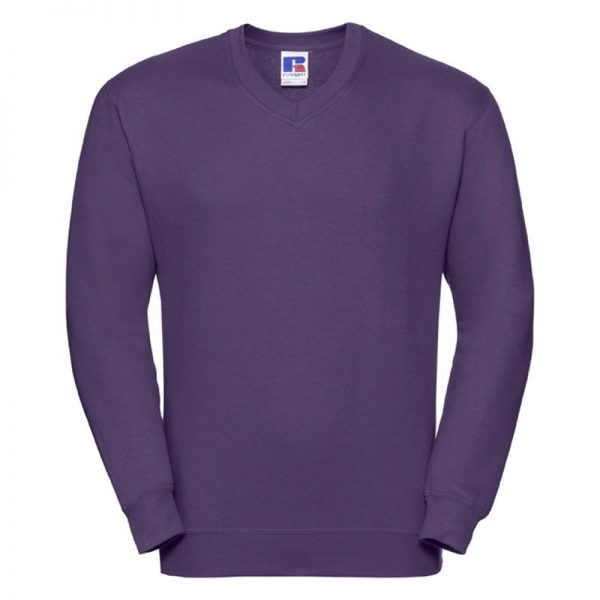 295g 50/50PC Mens V-neck Set-in Sweatshirt - JSA272-purple