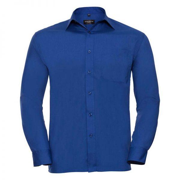 110g 65/35 PC Easy Care Poplin Shirt Long-Sleeve - JSHA934-bright-royal