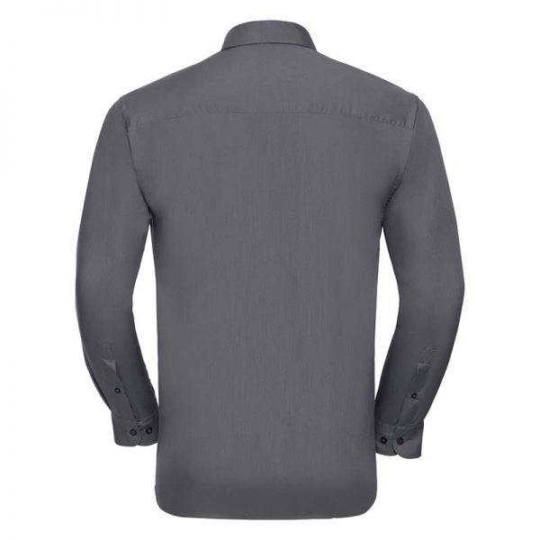 110g 65/35 PC Easy Care Poplin Shirt Long-Sleeve - JSHA934-convoy-grey-back