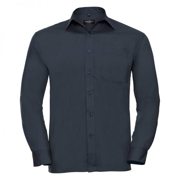 110g 65/35 PC Easy Care Poplin Shirt Long-Sleeve - JSHA934-french-navy