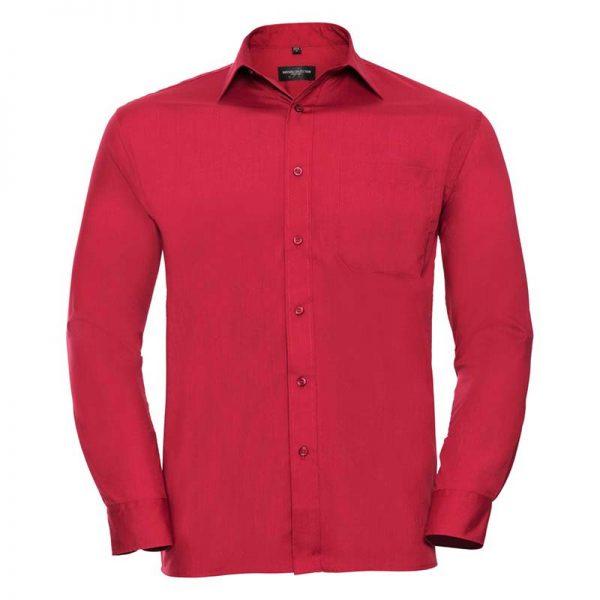 110g 65/35 PC Easy Care Poplin Shirt Long-Sleeve - JSHA934-red