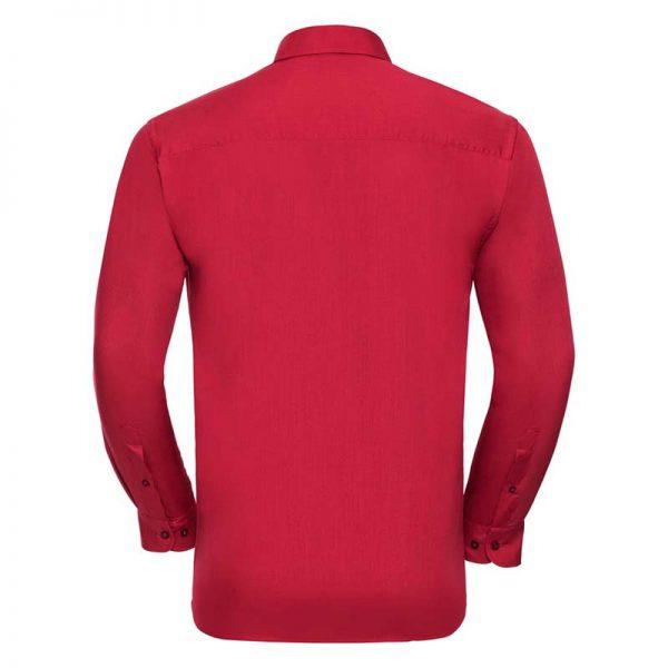 110g 65/35 PC Easy Care Poplin Shirt Long-Sleeve - JSHA934-red-back