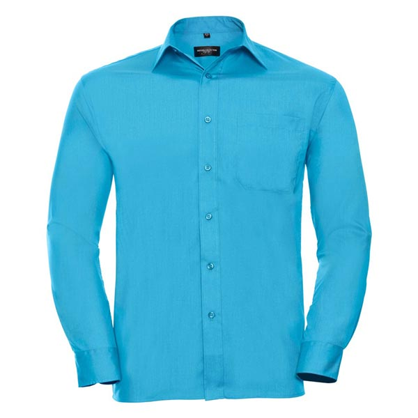 110g 65/35 PC Easy Care Poplin Shirt Long-Sleeve - JSHA934-turquois