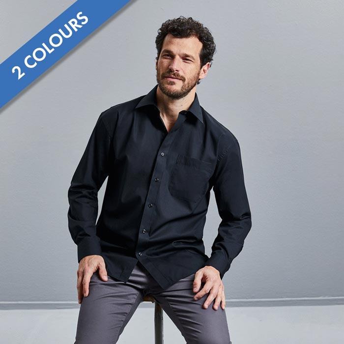 125g Mens Pure Cotton Easy Care Poplin Shirt Long Sleeve - JSHA936