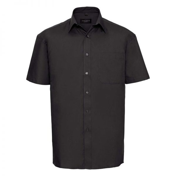 125g Pure Cotton Easy Care Poplin Shirt Short Sleeve - JSHA937-black