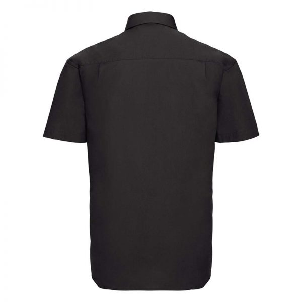 125g Pure Cotton Easy Care Poplin Shirt Short Sleeve - JSHA937-black-back