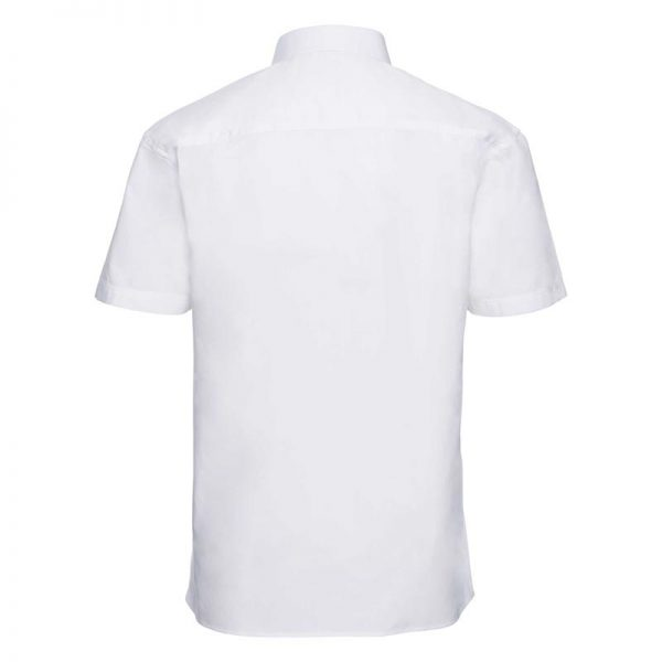 125g Pure Cotton Easy Care Poplin Shirt Short Sleeve - JSHA937-white-back