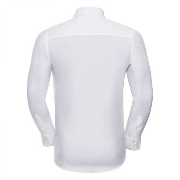 140g Mens Easy-Care Cotton-Stretch Long Sleeve Fitted Shirt - JSHA946-WHITE-BACK