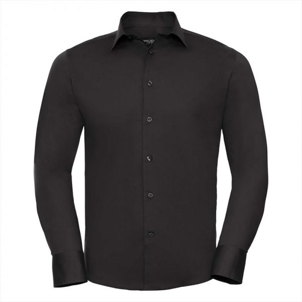 140g Mens Easy-Care Cotton-Stretch Long Sleeve Fitted Shirt - JSHA946-black