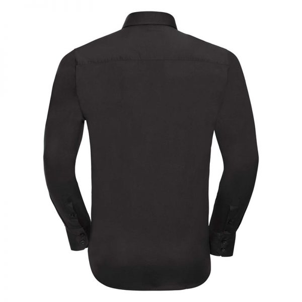 140g Mens Easy-Care Cotton-Stretch Long Sleeve Fitted Shirt - JSHA946-black-back