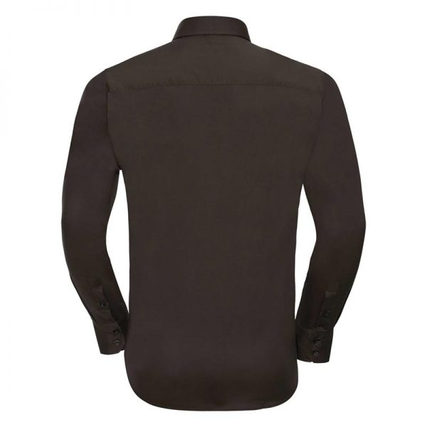 140g Mens Easy-Care Cotton-Stretch Long Sleeve Fitted Shirt - JSHA946-chocoalte-back