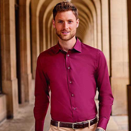 140g Mens Easy-Care Cotton-Stretch Long Sleeve Fitted Shirt - JSHA946-model