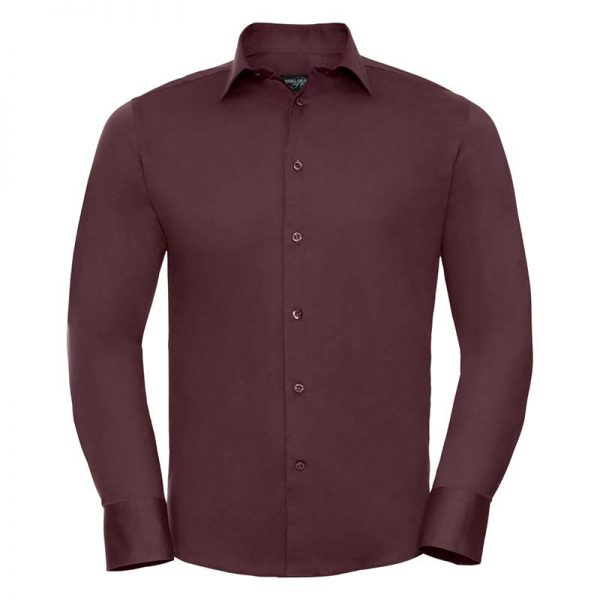 140g Mens Easy-Care Cotton-Stretch Long Sleeve Fitted Shirt - JSHA946-port