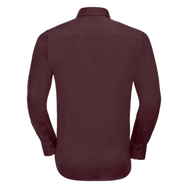 140g Mens Easy-Care Cotton-Stretch Long Sleeve Fitted Shirt - JSHA946-port-back