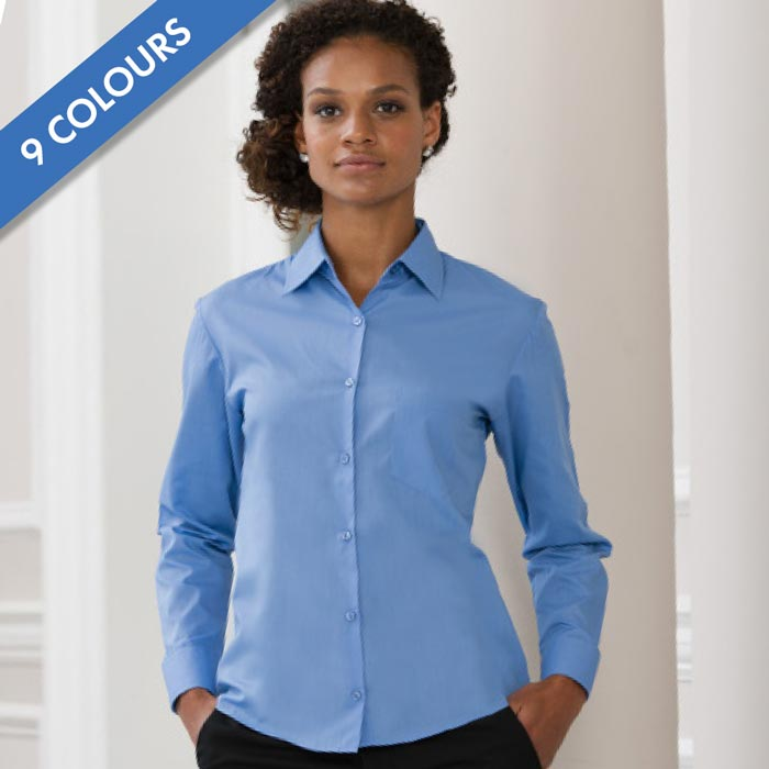 Ladies Easy Care Poplin Shirt Long Sleeve-JSHL934