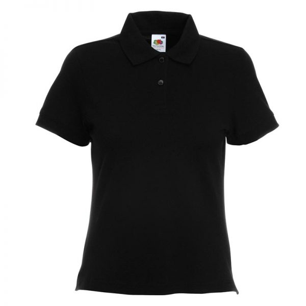 220gsm 97/3 CE Stretch-Cotton Lady-Fit Pique Polo Shirt - SPL-black
