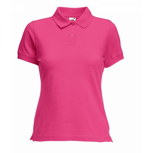 220gsm 97/3 CE Stretch-Cotton Lady-Fit Pique Polo Shirt - SPL-fuchsia