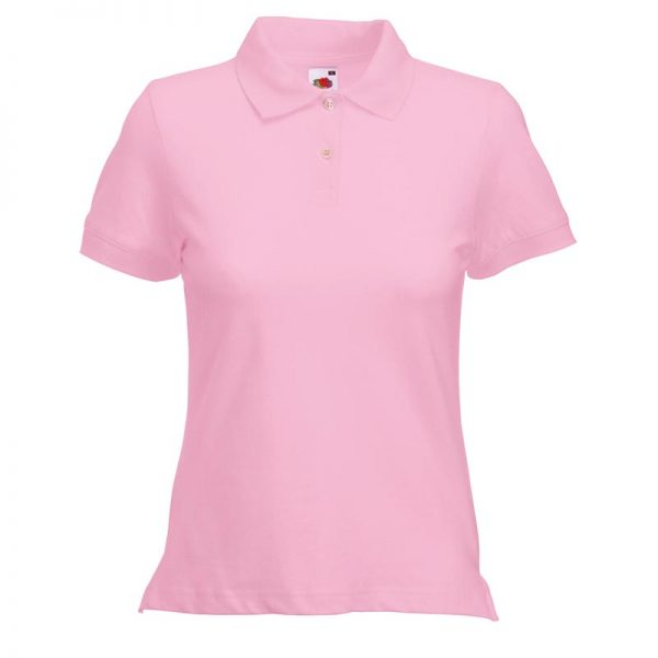 220gsm 97/3 CE Stretch-Cotton Lady-Fit Pique Polo Shirt - SPL-pink