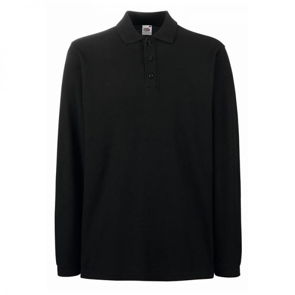180gsm 100% Cotton Long Sleeve Premium Polo Shirt - SPLPA-black