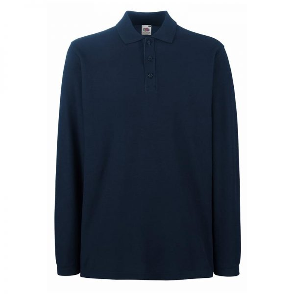 180gsm 100% Cotton Long Sleeve Premium Polo Shirt - SPLPA-dark-navy