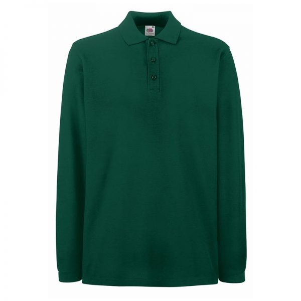 180gsm 100% Cotton Long Sleeve Premium Polo Shirt - SPLPA-forest-green