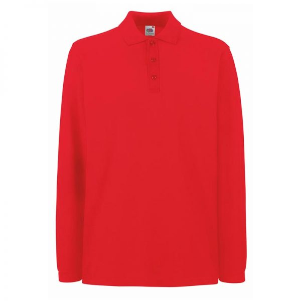 180gsm 100% Cotton Long Sleeve Premium Polo Shirt - SPLPA-red