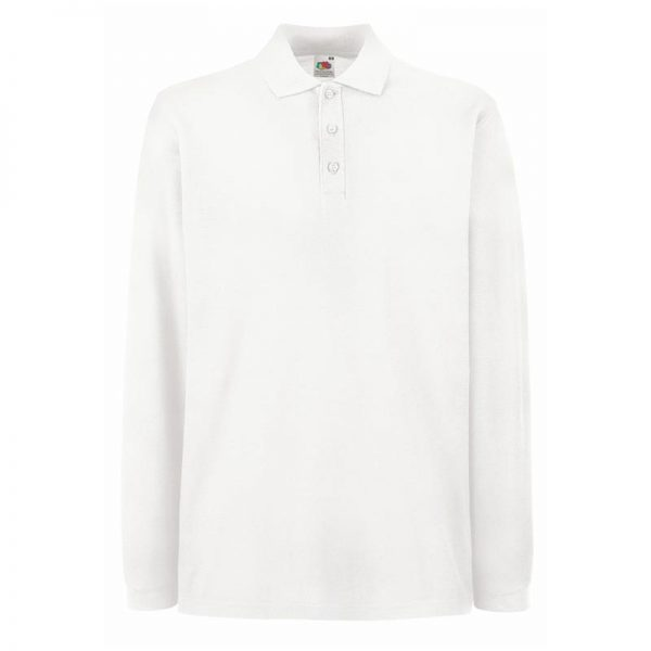 180gsm 100% Cotton Long Sleeve Premium Polo Shirt - SPLPA-white