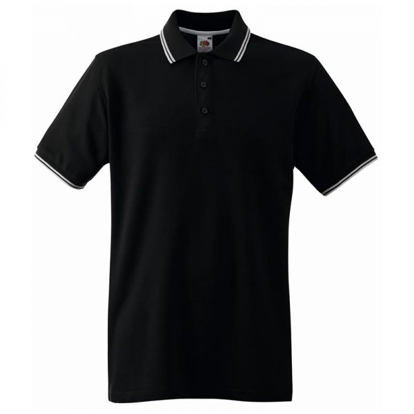 180gsm 100% Cotton Contrast Premium Tipped Polo Shirt - SPTA-black-white