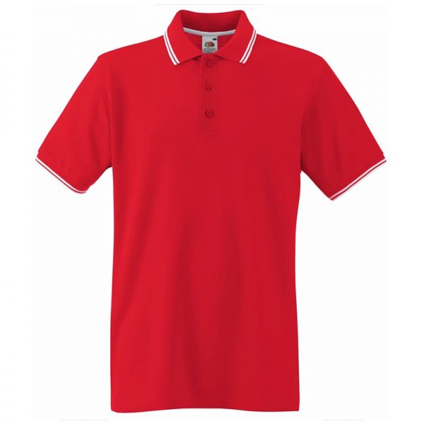 180gsm 100% Cotton Contrast Premium Tipped Polo Shirt - SPTA-red-white