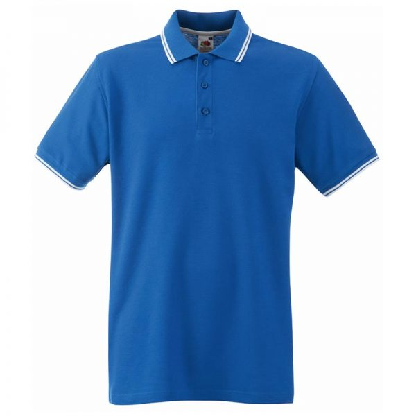 180gsm 100% Cotton Contrast Premium Tipped Polo Shirt - SPTA-royal-white