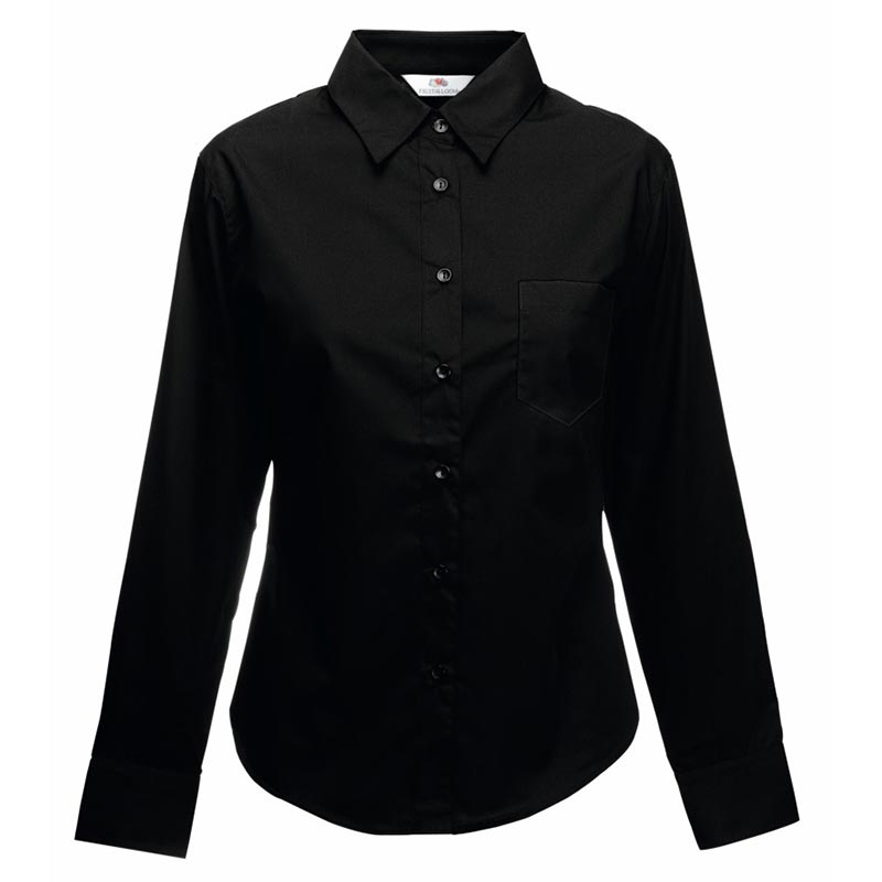 120g 55/45 CP Ladies Poplin Shirt Long Sleeve - SSHLPL-black