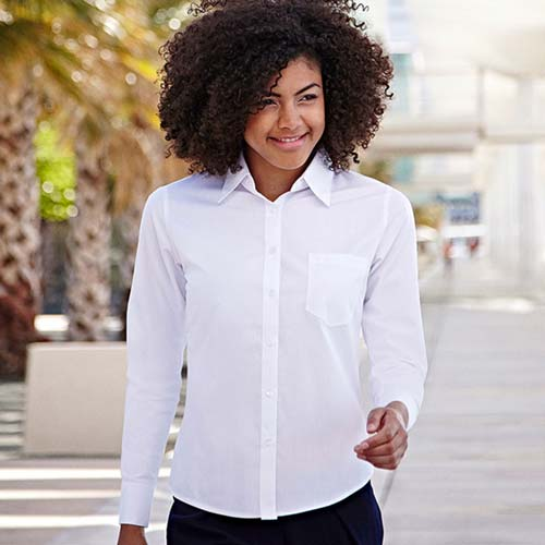 120g 55/45 CP Ladies Poplin Shirt Long Sleeve - SSHLPL-model1