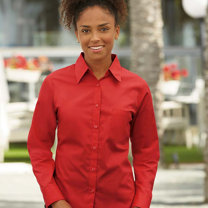 120g 55/45 CP Ladies Poplin Shirt Long Sleeve - SSHLPL-model4