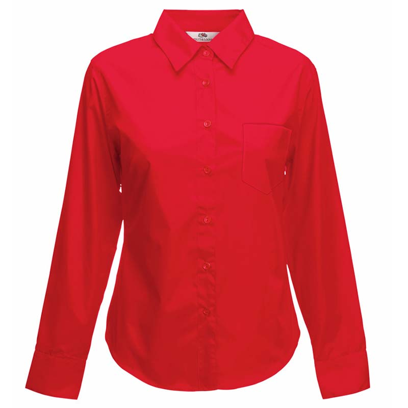 120g 55/45 CP Ladies Poplin Shirt Long Sleeve - SSHLPL-red