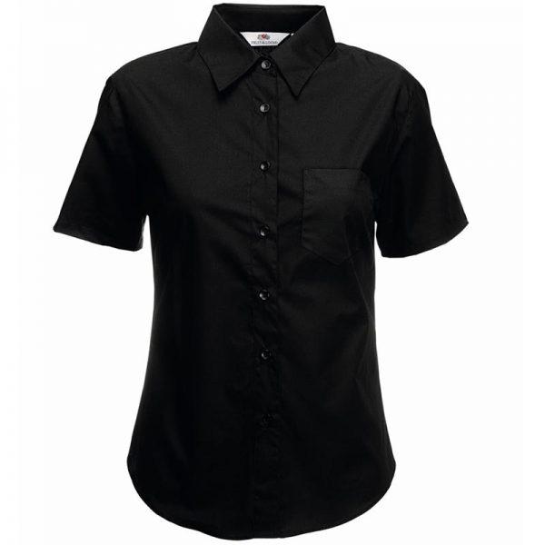 120g 55/45 CP Ladies Poplin Shirt Short Sleeve - SSHSPL-black