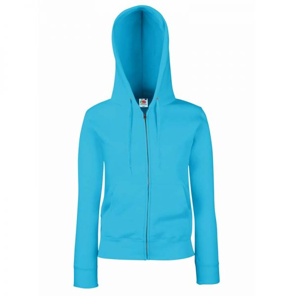 280g Ladies 70/30 CP Lady-Fit Hooded Sweat Premium Jacket - SSHZL-azure
