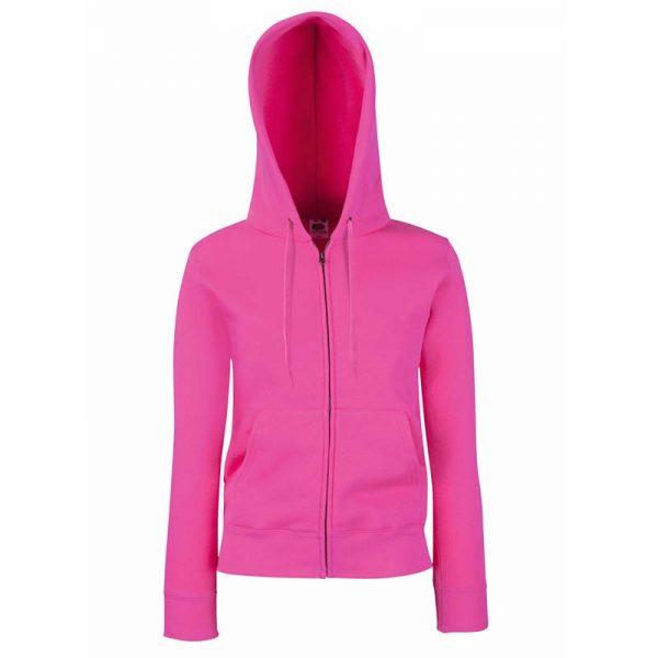 280g Ladies 70/30 CP Lady-Fit Hooded Sweat Premium Jacket - SSHZL-fuchsia