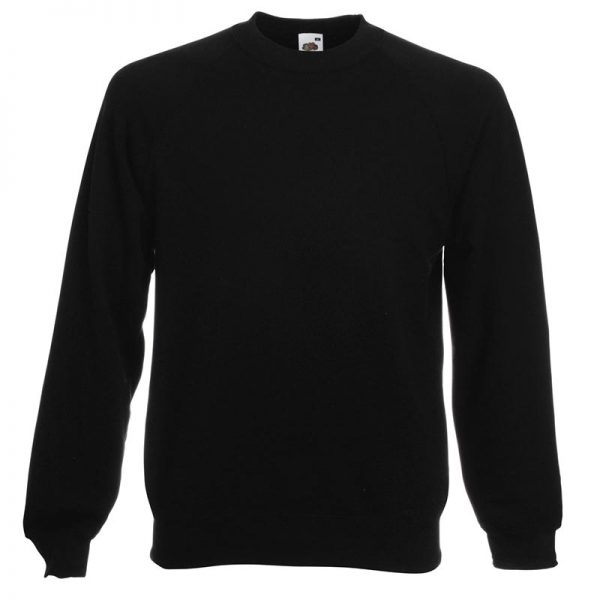 280gsm 80/20 CP Classic Raglan Crew Sweat Long Sleeve - SSRA-black