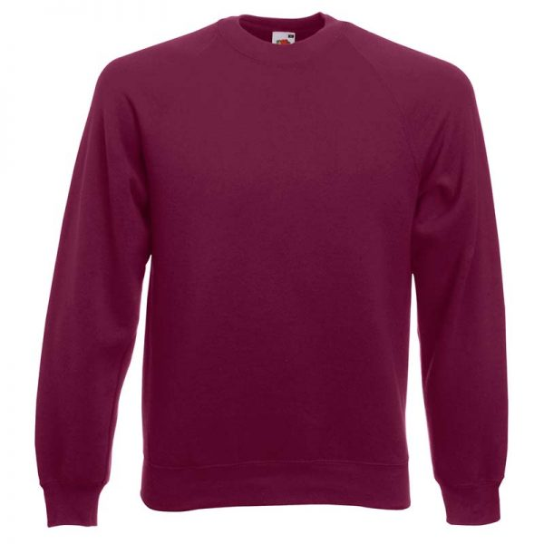 280gsm 80/20 CP Classic Raglan Crew Sweat Long Sleeve - SSRA-burgundy