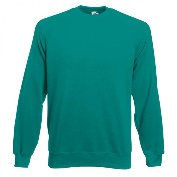 280gsm 80/20 CP Classic Raglan Crew Sweat Long Sleeve - SSRA-emerald