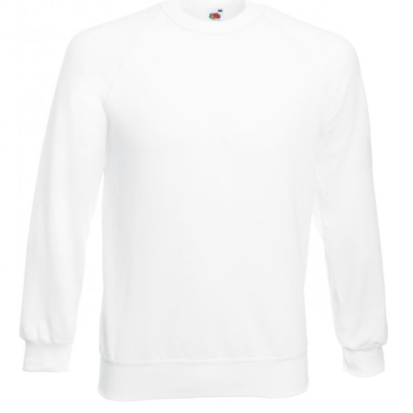 280gsm 80/20 CP Classic Raglan Crew Sweat Long Sleeve - SSRA-white