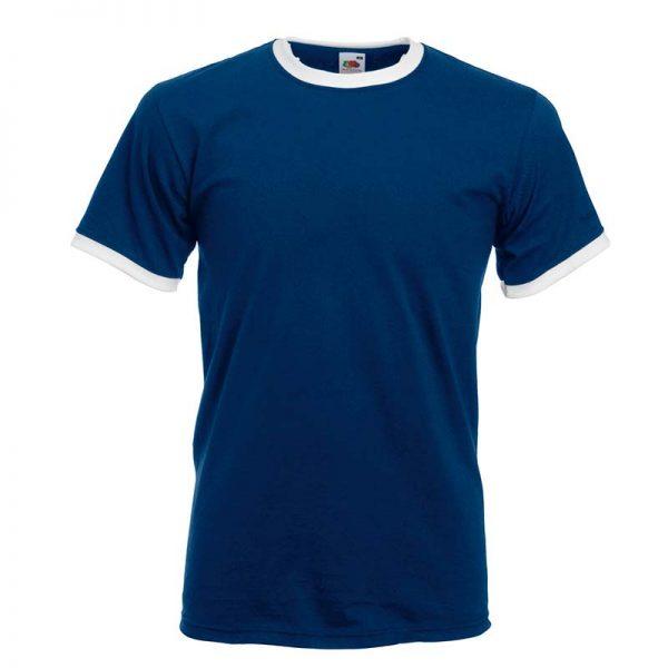165gsm 100% Cotton, Belcoro® Yarn Ringer T Short Sleeve - STRA-white-navy