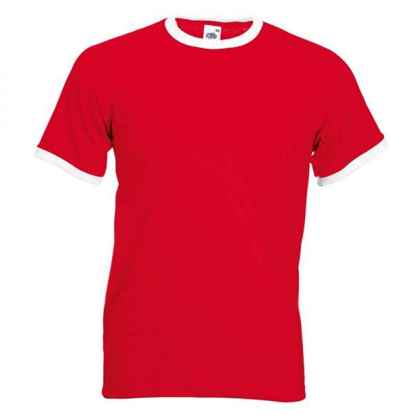 165gsm 100% Cotton, Belcoro® Yarn Ringer T Short Sleeve - STRA-white-red