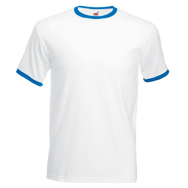 165gsm 100% Cotton, Belcoro® Yarn Ringer T Short Sleeve - STRA-white-royal