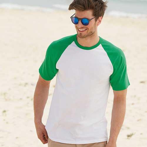 165gsm 100% Cotton Baseball T-Shirt Short Sleeve - STSBA