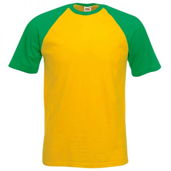 165gsm 100% Cotton Baseball T-Shirt Short Sleeve - STSBA-sunglower-kelly-green