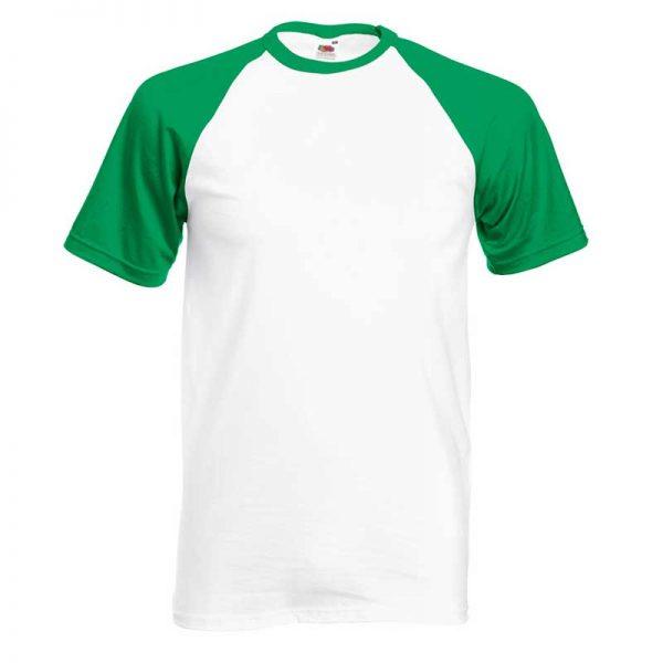 165gsm 100% Cotton Baseball T-Shirt Short Sleeve - STSBA-white-kelly