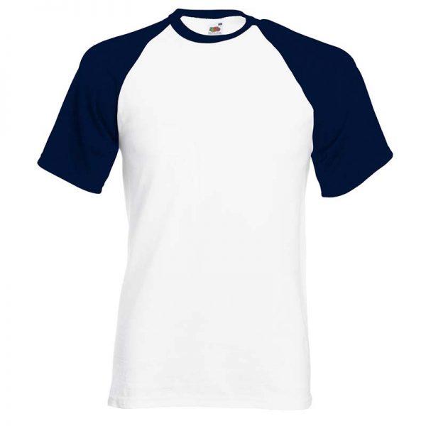 165gsm 100% Cotton Baseball T-Shirt Short Sleeve - STSBA-white-navy