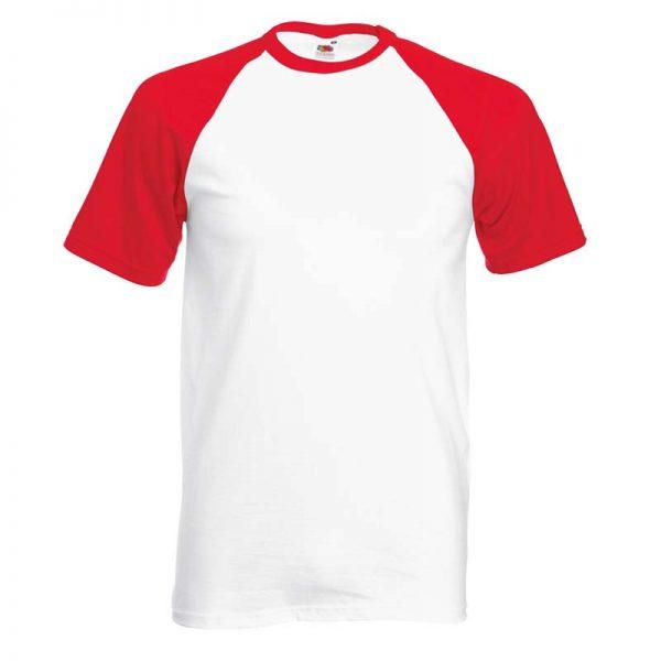 165gsm 100% Cotton Baseball T-Shirt Short Sleeve - STSBA-white-red