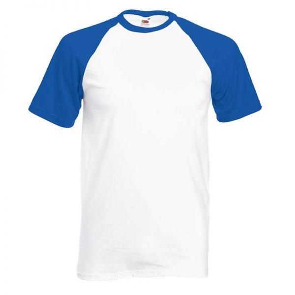 165gsm 100% Cotton Baseball T-Shirt Short Sleeve - STSBA-white-royal